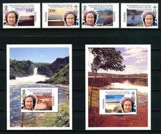 OUGANDA 1992 N° 860/863 Blocs 150/151 ** Neufs MNH Superbes C 28 € Reine Elizabeth II Accession Trône Chutes D'eau - Uganda (1962-...)