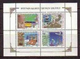 1990 TURKEY THE 150TH ANNIVERSARY OF THE ESTABLISHMENT OF PTT SOUVENIR SHEET MNH ** - 1921-... République