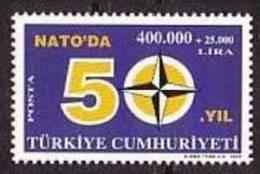 2002 TURKEY 50TH ANNIVERSARY OF TURKEY PARTICIPATING IN NATO MNH ** - 1921-... République
