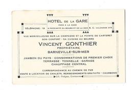 BARNEVILLE SUR MER (50) Carte De Visite Hotel De La Gare Vincent Gonthier - Barneville