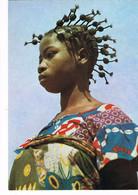CPA. Gabon. Jeune Fille Aux Bigoudis.      Pub Au Dos. (AA2.18) - Gabón