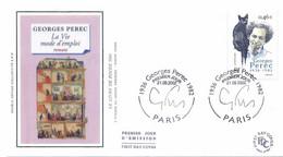 Enveloppe 1er Jour Avec Timbre Yt 3518, Georges Perec 2002 - 2000-2009