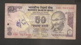 India - Banconota Circolata Da 50 Rupie P-97s - 2010 #18 - India