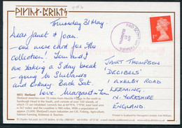 GB Scotland Shetland Puffin Postcard, P&O Scottish Ferries Ship Cachet - 1952-.... (Elizabeth II)