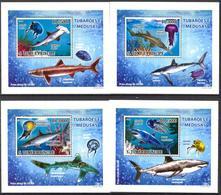 A{042} Sao Tome & Principe 2009 Sharks Jellyfish 4 S/S Deluxe MNH** - Sao Tomé E Principe