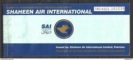 PAKISTAN, DOMESTIC AIR TICKET PRIVATE AIRLINE SHAHEEN AIR INTERNATIONAL - Billets D'embarquement D'avion