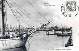 ESPANA - /postal Precursora/ -  CADIZ  < VISTA DEL PUERTO - (Ed. HAUSER Y MENET) - Cádiz