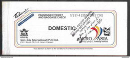 PAKISTAN, DOMESTIC AIR TICKET PRIVATE AIRLINE AERO ASIA - Billets D'embarquement D'avion
