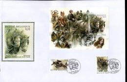 België - FDC Op Zijde / Sur Soie - BL95, 100 Jaar Sint-Pauluspaardenprocessie Van Opwijk - 2001-10