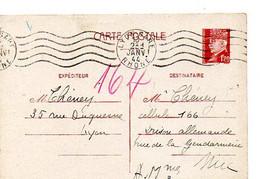 E 5 1944 Entier Pétain Pour Prison Allemande A Nice - Guerra Del 1939-45
