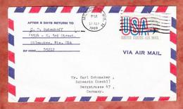 Luftpost, Airmail, Milwaukee Nach Schwerin 1969 (97562) - Stati Uniti