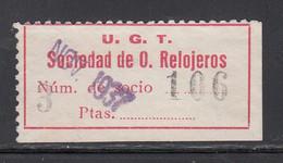 U,G.T. Oficieros Relojeros, 3 Pts Carmín, (Al.934) - Vignette Della Guerra Civile