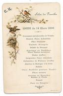 ANCIEN MENU, 14 MARS 1896, SALON DES FAMILLES, DECOR OISEAUX - Menus