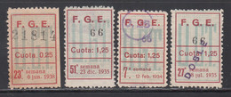 U,G.T. Federación Gráfica Españaola, 25 C. 1,25 P.  (Al.902), Tres Cuotas No Reseñadas, - Viñetas De La Guerra Civil