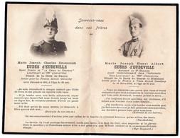 Faire-part  Souvenir De Charles Emmanuel EUDES D'EUDEVILLE  St Cyrien Et De Henri Albert EUDES D'EUDEVILLE  Aspirant - Décès