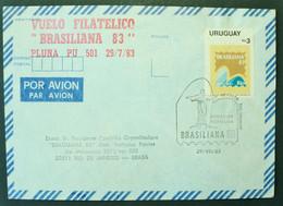 1983 URUGUAY V175 FLIGHT VUELO MONTEVIDEO-RIO JANEIRO AIRLINE PLUNA Postmark BRASILIANA 83 CORCOVADO JESUSCRISTO Christ - Uruguay