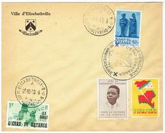 """Lettre à En-têt """"Ville De Elisabethville""""(1961)+ N°42 Et 55 /cachet """"Indépendance De L'état Du Katanga"""" 1er Anniversaire - Katanga"""