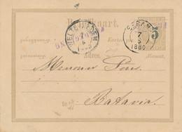 Nederlands Indië - 1880 - 5 Op 12,5 Cent Willem III, Briefkaart G4 Van L PANDEGLANG En KR SERANG Naar Batavia - Netherlands Indies