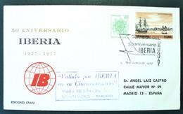 1983 URUGUAY V148 FLIGHT VUELO MONTEVIDEO-MADRID 50 Years Airline Iberia- Flower Flor Fleur  Ship Barco Schiff Navire - Uruguay
