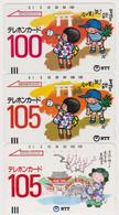 LOT De 3 TC Anciennes JAPON / NTT 390-011 / 100 U + 390-011 / 105 U + 390-014 - Peinture - JAPAN Front Bar Phonecards - Pittura
