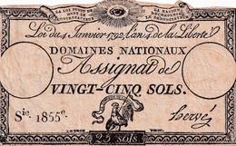 Assignat De Vingt Cinq Sols -  4 Janvier 1792 - L'an 4 De La Liberté  - Série 1855e Signé HERVE - Assignats
