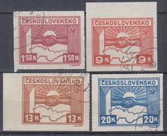 TSCHECHOSLOWAKEI  411-414,  Gestempelt, Landkarte. 1945 - Gebraucht
