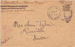 Soldier's Free Mail 1919 U.S. Army Postal Service 718 Type A2011 Transportation Corps, Saumur, France To Riceville... - Poststempel