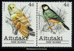 Scott 222a   4cTyto Alba And 4c Padda Oryzivora Birds Se-tenant Pair. Mint Never Hinged. - Aitutaki