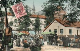 Bruxelles Vieux Marché Place Du Jeu De Balles Carte Colorisé Super Animée  Circulé En 1908 - Mercati