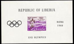 Scott C127   50c Runner 1960 Olympics Imperforate Souvenir Sheet. Mint Never Hinged. - Liberia