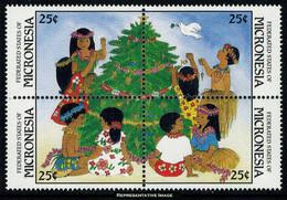 Scott 70a   25c, 25c, 25c, And 25c Children Decorating Tree 1988 Christmas Block Of 4. Mint Never Hinged. - Micronesia