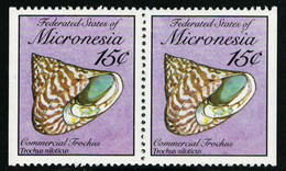 Scott 85   15c Commercial Trochus Seashells Se-tenant Pair Booklet Pane. Mint Never Hinged. - Micronesia