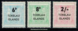 Scott 6-8   6d, 8d, 2/- Postal Fiscal Type Of New Zealand Overprinted Tokelau Islands. Mint Never Hinged. - Tokelau