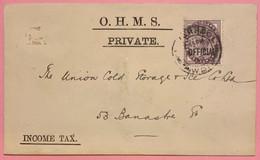 G-B VICTORIA 1881 NO 73 I.R OFFICIAL - LIVERPOOL: O.H.M.S PRIVATE.  PETITE LETTRE DE 13 Cm X 8 Cm... RARE - Briefe U. Dokumente