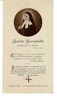 Image , Pieuse, Religieuse Et Canivet - SAINTE BERNADETTE ,  Priez Pour Nous - (morceau D'étoffe)- Dim : 11,5 X 6,3cm - Religión & Esoterismo