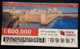 """Portugal, Lottery Ticket, ARCHITECTURE, """"Portugal In The World"""", Morocco, 2020 - Loterijbiljetten"""
