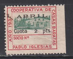 P.S.O.E. Cooperativa De Casas Baratas. Pablo Iglesias. 1937 Abril, 2 Pts. Carmín, Negro Y Verde. (Al.1349), - Viñetas De La Guerra Civil