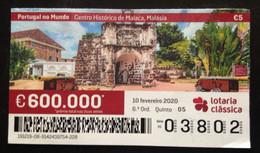 """Portugal, Lottery Ticket, ARCHITECTURE, """"Portugal In The World"""", Malaysia, 2020 - Loterijbiljetten"""