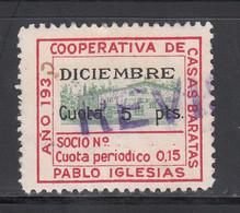 P.S.O.E. Cooperativa De Casas Baratas. Pablo Iglesias. Diciembre , 5 Pts. Carmín, Negro Y Verde. - Viñetas De La Guerra Civil