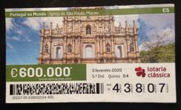 "Portugal, Lottery Ticket, ARCHITECTURE, ""Portugal In The World"", Macao, 2020 - Loterijbiljetten"