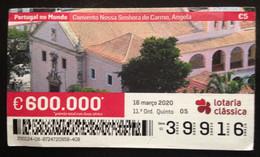 """Portugal, Lottery Ticket, ARCHITECTURE, """"Portugal In The World"""", Angola, 2020 - Loterijbiljetten"""