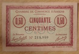 AMIENS ( 80  ) 50 Centimes Chambre De Commerce D'Amiens 1915 AVEC Cachet AMD - Cámara De Comercio