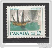 Canada, 1979, #818, Bateau, Voilier, Boat, Ship, Poésie, Poète, émile Nelligan, Vaisseau D'or, Poet - Barche
