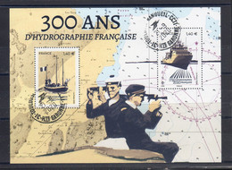 """FRANCE 2020 / FEUILLET """" 300 ANS D'HYDROGRAPHIE FRANCAISE """" 2 Valeurs à 1.40 €  / SUPERBE OBLITERE CIRCULAIRE - Sheetlets"""