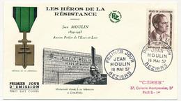 FRANCE - 5 Env. FDC - Héros De La Résistance - Jean Moulin, D'Estienne D'Orves, Keller, Brossolette, Lebas - 18/5/1957 - 1950-1959