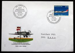 Switzerland 1972  50th Anniversary Of First Flight Geneva Zurich Nuremberg Cover   ( Lot 385 ) - Svizzera