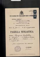 COMO ORSOLINE DI SAN CARLO PAGELLA SCOLASTICA 1943 CON MARCHE DA BOLLO - Diploma's En Schoolrapporten