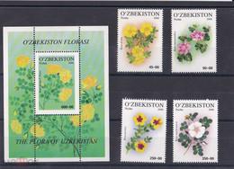 2006. Uzbekistan. Flora. Flowers (Mi. 693/96 + Bl.44) MNH - Uzbekistan