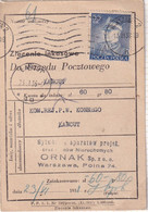 POLAND 1937 Rydz-Smigly Fi 299 On Money Order - 1919-1939 Republic