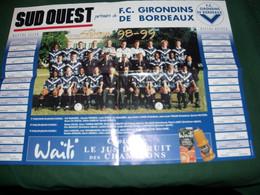 """FOOTBALL , GIRONDINS DE BORDEAUX , SAISON 98/99 POSTER """" SUD - OUEST """" - Posters"""